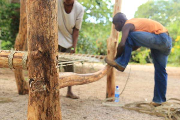 artisans build a bunk bed at distant relatives kilifi