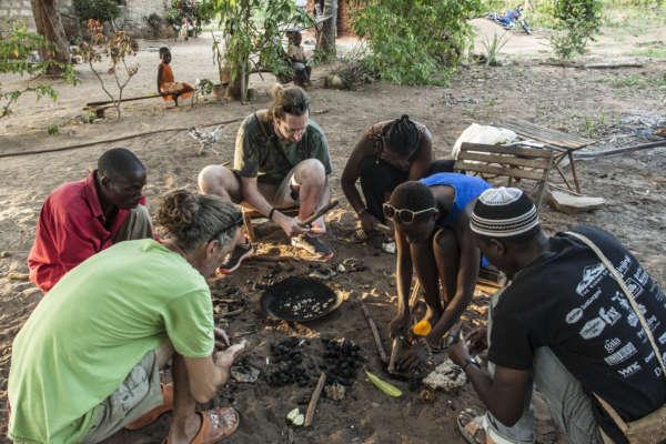 Roasting Cashews in the village near distant relatives kilifi